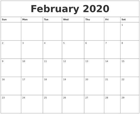 2020 Calendar Template february 2020 printable calendar template