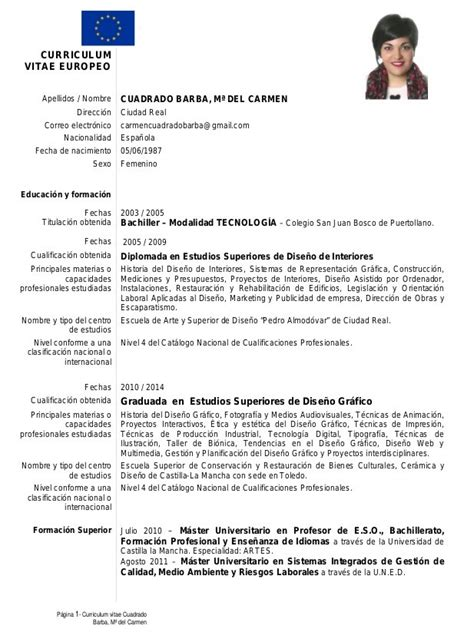 Modelo Curriculum Europeo Word Ingles Modelo De Curriculum Vitae Europeo Modelo De Curriculum I Started