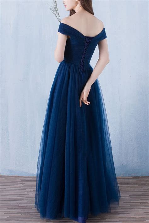 navy blue   shoulder long prom dressestulle