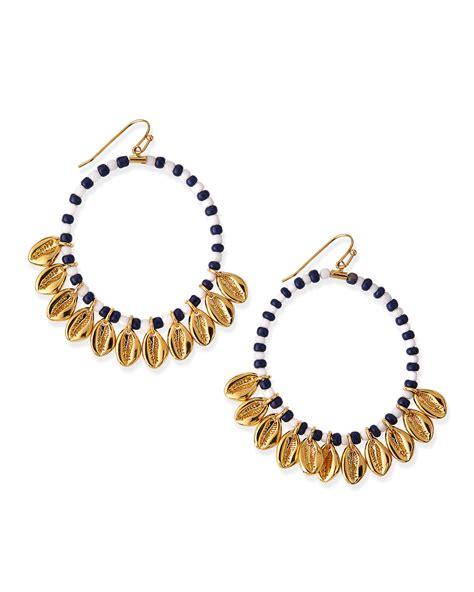 Allen Dons Gold Ribbed Hoop Earrings A La Hilary Duff by Burch Mikah Beaded Hoop Earrings In Gold Lyst