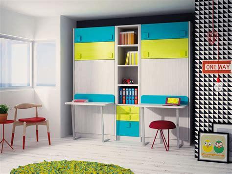 habitaciones juveniles con escritorio literas abatibles verticales con escritorio literas