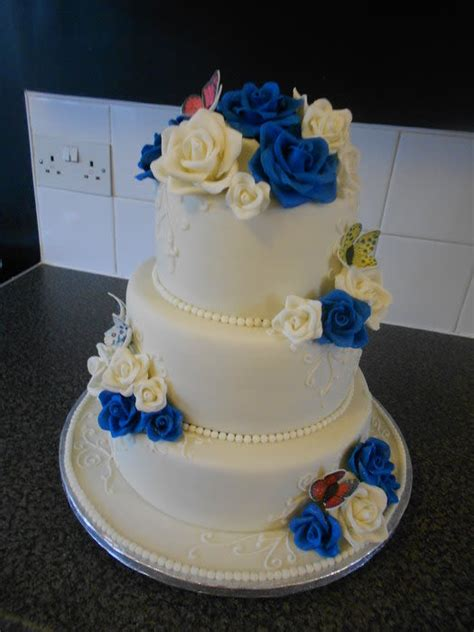Royal Blue And Ivory Wedding Decorations by Wedding Cake Ivory Royal Blue Cake By