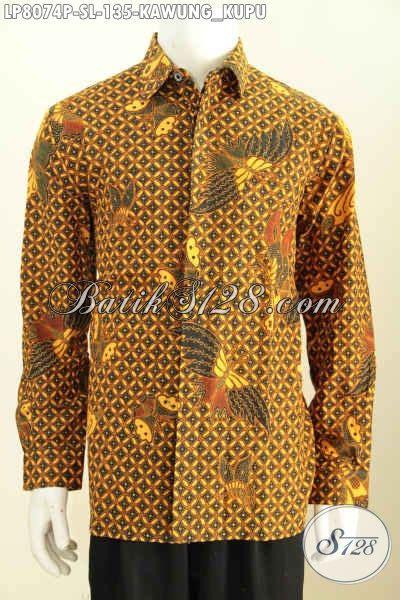 Kemeja Batik Kawung Grompol Printing Lengan Panjang baju kemeja motif klasik kawung kupu model lengan panjang furing hem batik printing