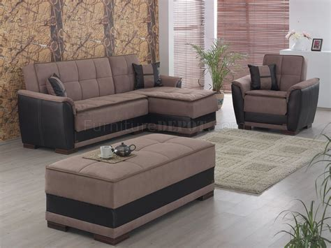two tone microfiber sectional two tone brown treated microfiber contemporary sectional sofa