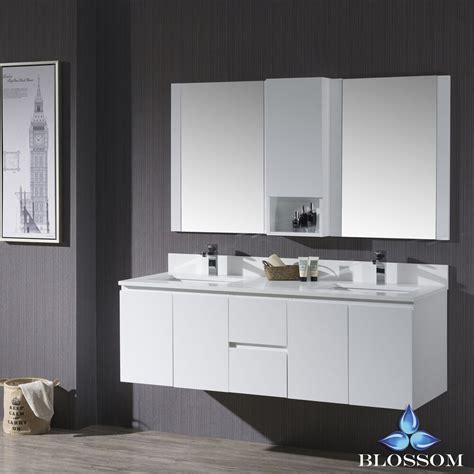 blossom  monaco wall mount double sink bathroom vanity  matte white ebay