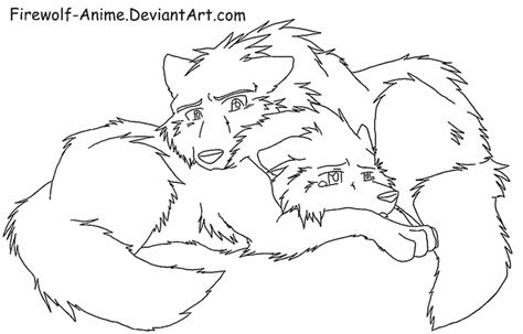 wolf love coloring pages wolf comfort lineart by firewolf anime on deviantart