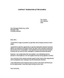 Resignation Letter Sle No Contract Contractor Resignation Letter Template 4 Free Word Pdf Format Free Premium