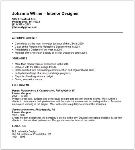 Interior Designer Resume Exle creative arts and graphic design resume exles