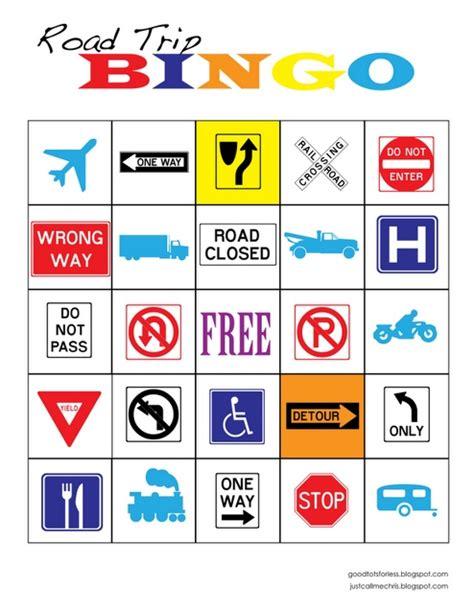 printable road sign bingo road trip bingo printables pinterest