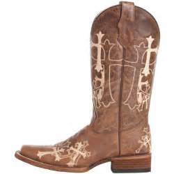 Shop women s circle g brown and beige cross embroidered cowgirl boots
