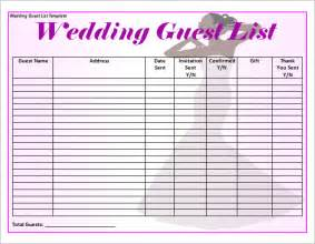 Wedding Guest List Template Sample Wedding Guest List Template 15 Free Documents In