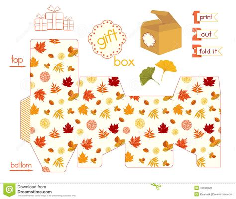 printable gift box with colorful autumn leaves stock