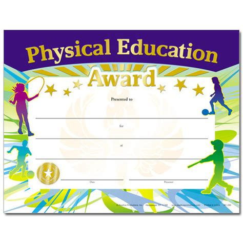 physical education certificates samweiss physical education award gold foil sted certificates