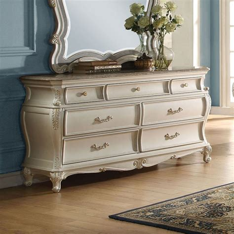 chantelle granite top dresser pearl white  acme furniture furniturepick