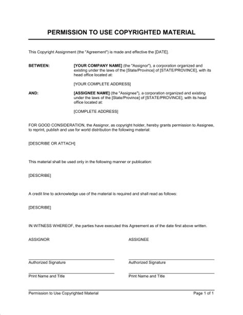 copyright agreement template permission to use copyrighted material template sle