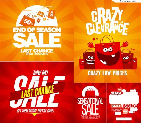 promotional posters templates 4 designer vector material of beautiful discount