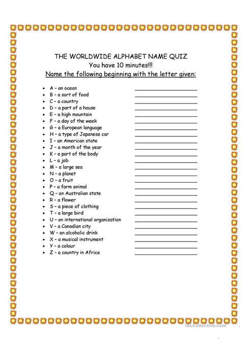 Letter Quiz worldwide alphabet quiz worksheet free esl printable