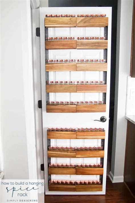 diy back of door spice rack how to build a diy spice rack that can hang on your pantry