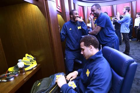 palace locker room images from the michigan basketball team s south dakota state preparations at the palace of