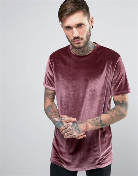 Asos T Shirt In Pink lyst asos longline velour t shirt in pink in pink for