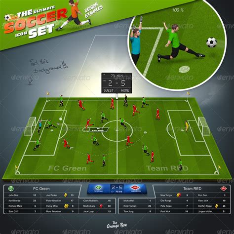 template photoshop soccer the soccer set kicker icons field and elements by