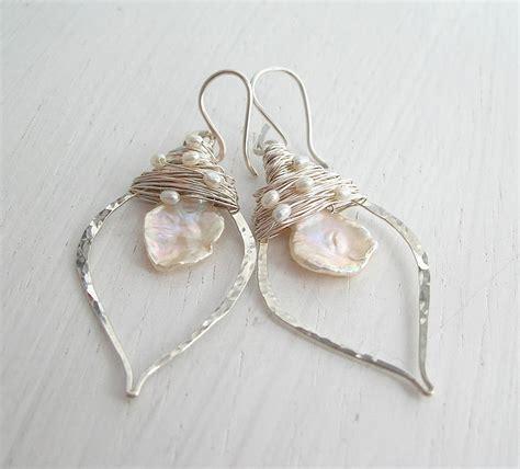 keshi pearl keshi pearl leaf hoop earrings by hickey