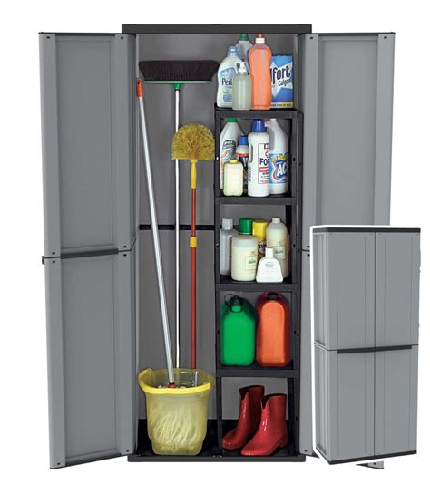Outdoor Broom Cupboard - plastic garden storage cupboard outdoor cabinet sheds