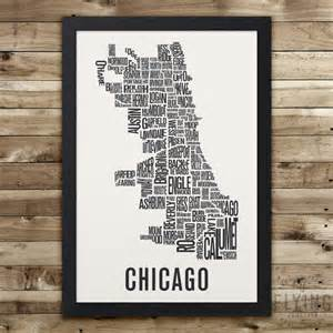 chicago map drawing chicago neighborhood typography city map print