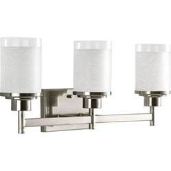 Vanity Bathroom Lighting Fixtures Shop Progress Lighting 3 Light Brushed Nickel Bathroom Vanity Light At Lowes