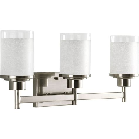 bathroom lighting fixtures lowes shop progress lighting 3 light brushed nickel