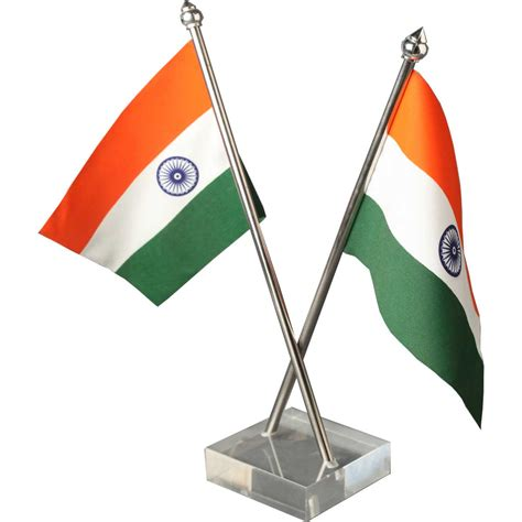 indian cross table flag with acrylic base and stainless