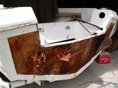 small boat transom repair rotted stringer core and transom repair west bay boat works