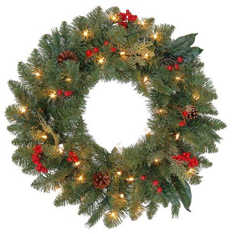 Martha Stewart Living 24 In Winslow Artificial Wreath Wreaths Lights