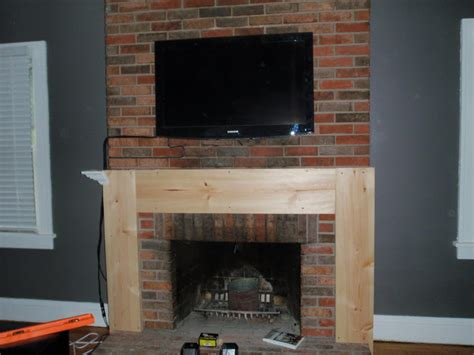 Building A Mantel On A Brick Fireplace by Hammers And High Heels Living Room Building A Fireplace