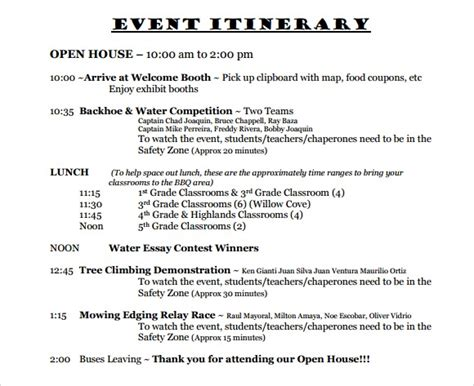 event itinerary templates notes designs
