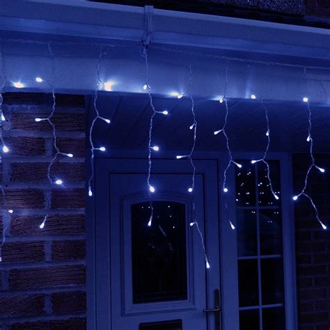 10 Metre Led Icicle Lights In Blue Connectable 320 Led S Blue Led Icicle Lights