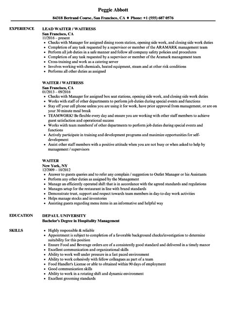 waitress resume examples best server resume example waiter bartender