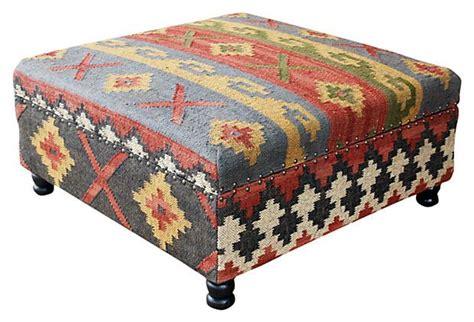 Kilim Storage Ottoman Helena Kilim Upholstered Storage Ottoman