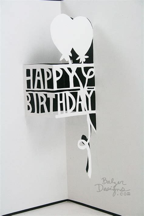 happy birthday 3d card template balzer designs dimensional paper cut cards