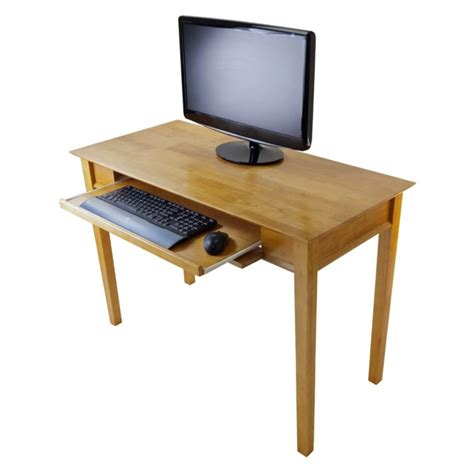 Wood Computer Desk Furniture Narrow Wooden Rectangle Computer Desk With Pull Out Keyboard Tray Minimalist Design