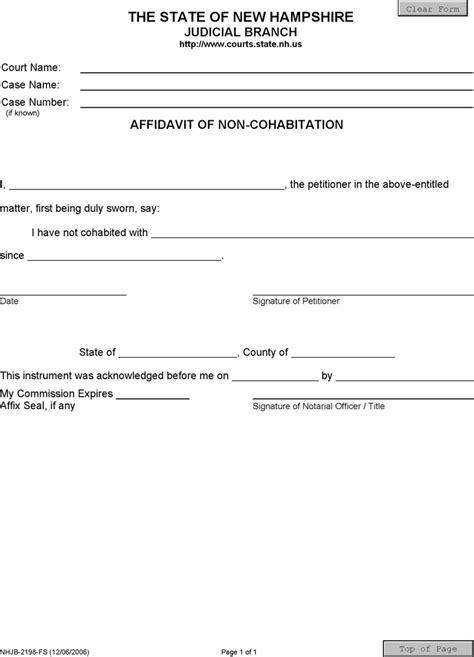 Free New Hshire Affidavit Of Non Cohabitation Form Pdf 13kb 1 Page S Affidavit Of Non Service Template