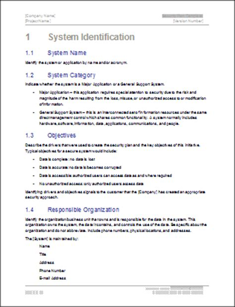 information system security policy template security plan ms word template instant