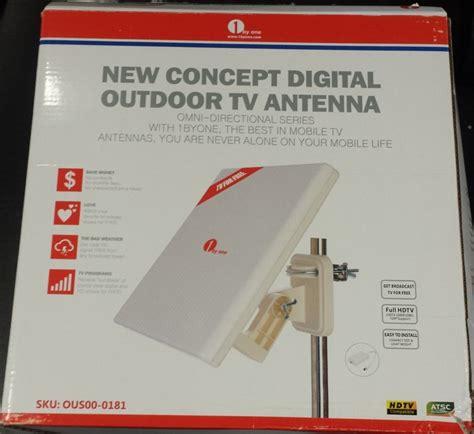1byone rectangle portable digital tv antenna reception outdoor white