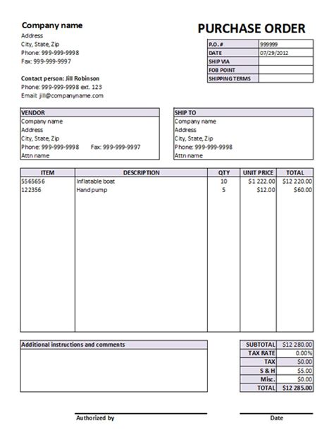 Editable Excel Purchase Order Template Retail Purchase Order Template