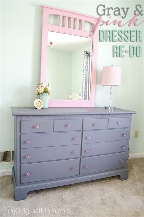 gray and pink dresser makeover for a big room