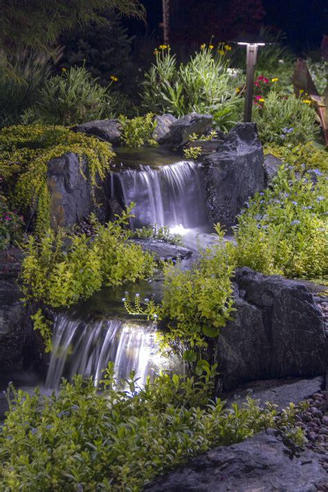 waterfall lighting ponds backyard small backyard