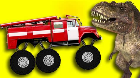 watch monster truck videos monster fire truck vs crazy dinosaur youtube