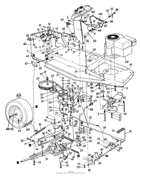 mtd lawn mower parts diagram mtd 135c471f190 lawn tractor l 12 1995 parts diagram for
