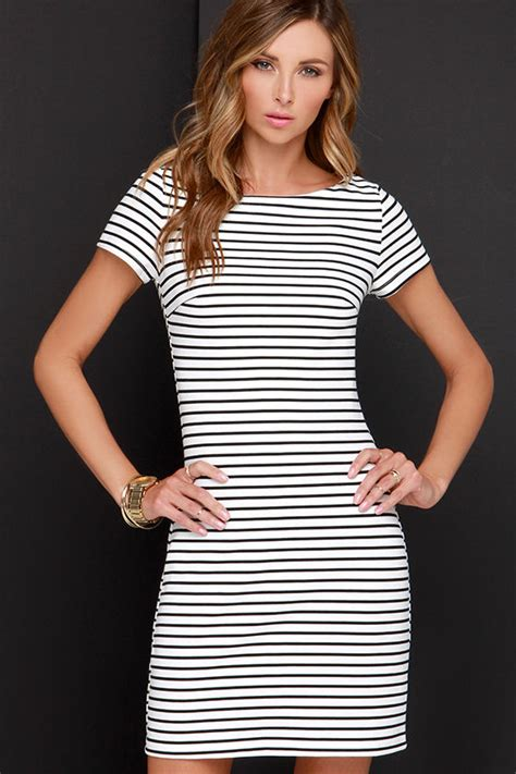 Dress Black White Stripes black and white dress striped dress sheath dress 52 00