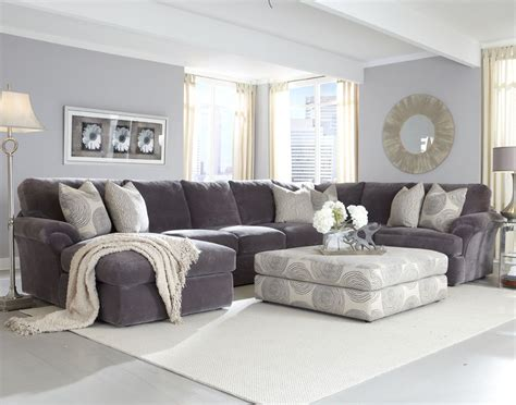 Grey Sectional With Ottoman Living Room Ideas Best Site